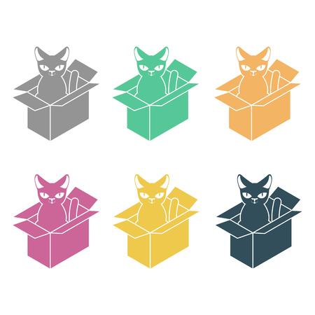 Cat in box set. Pet in cardboard box. vector illustration Illustration
