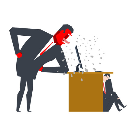 Angry Boss is scolding manager. manager is hiding under table. Office life. Businessman screaming at subordinate. Desktop at computer. Punishment at work. Vector illustration Illustration