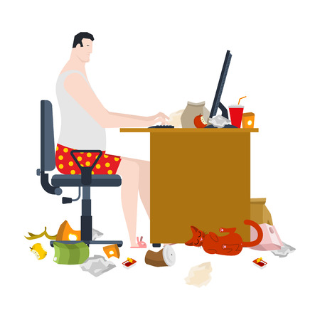 Freelancer and dirty work table. filthy workplace. Remote work at home. Garbage and sticks. Cat. Vector illustration
