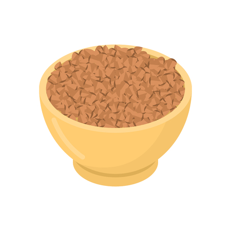 Buckwheat in wooden bowl