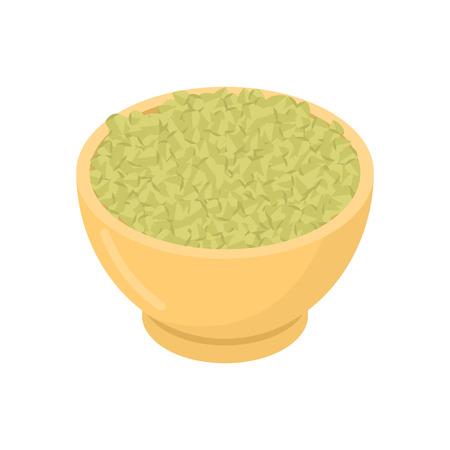 Raw buckwheat in wooden bowl Illustration