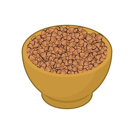 Buckwheat in wooden bowl Illustration