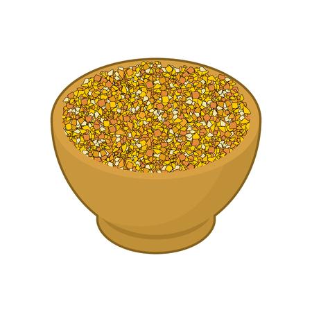Corn grits in wooden bowl Vector Illustration