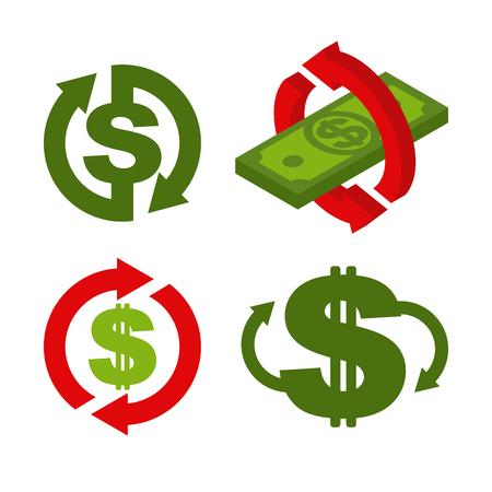 Cash back icon set