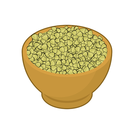 Raw buckwheat in wooden bowl Çizim