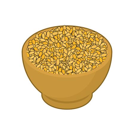 Bulgur in wooden bowl