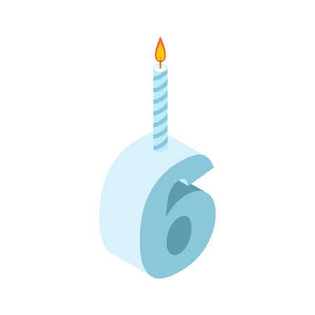 six objects: 6 number and Candles for birthday