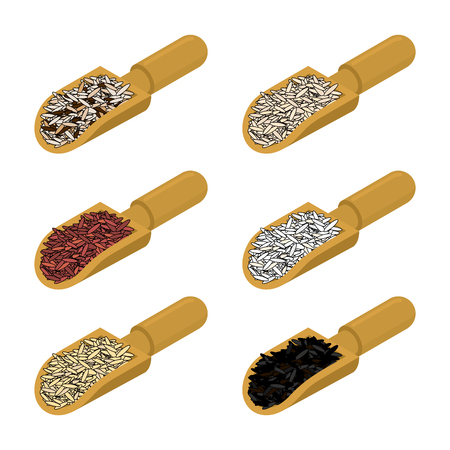 Rice in wooden scoop set