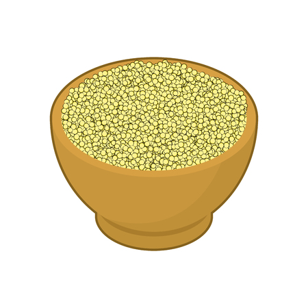 Couscous in wooden bowl