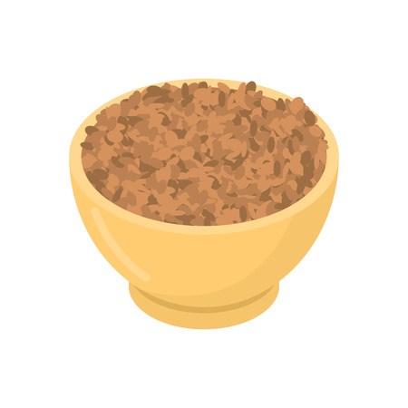木製のボウルに豆  イラスト・ベクター素材