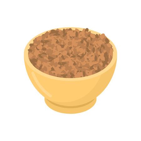 Lentils in wooden bowl Ilustração