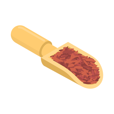 Red rice in wooden scoop