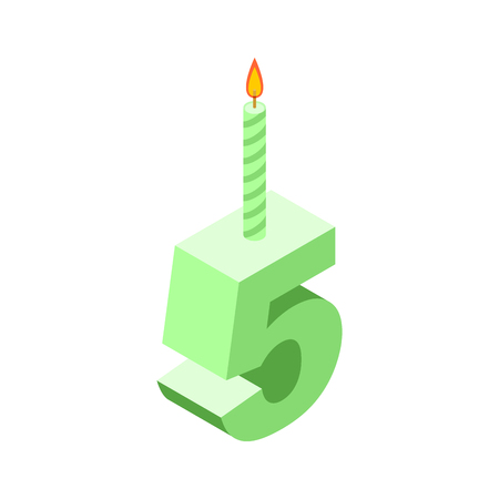 5 number and Candles for birthday Illustration