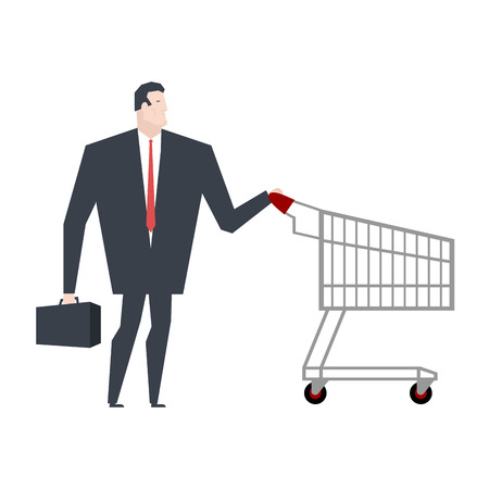ironic: Businessman and shopping cart. boss is in store shopping. Vector illustration Illustration
