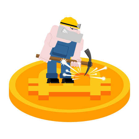 Mining bitcoin. Minir Extraction Crypto currency businessman screams for virtual money. Vector illustration