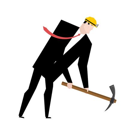 money wallet: Mining bitcoin. Minir Extraction Crypto currency businessman screams for virtual money. Vector illustration