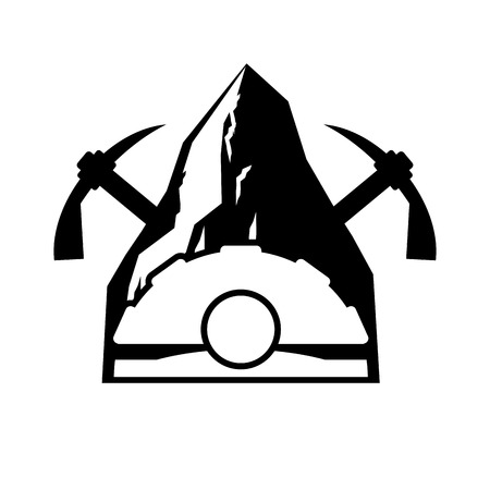 Mining logo. Meiner emblem. Helmet and pickaxe and Coal rock. Vector illustration