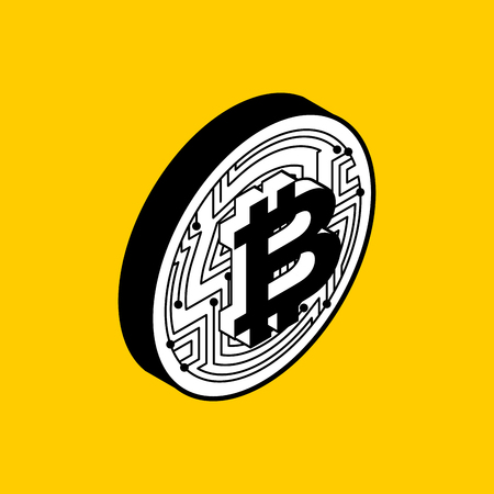 metal net: Bitcoin coin isolated. Crypto currency symbol. Virtual money sign. Vector illustration