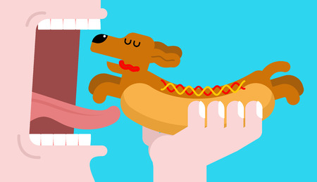 Eat Hot dog dachshund. Open mouth and teeth. Pet Animal Hotdog. Vector illustration Illustration