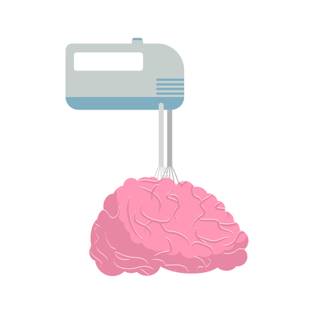 stirrer: Mixer and brain. Mix your brains and thoughts. Vector illustration Illustration