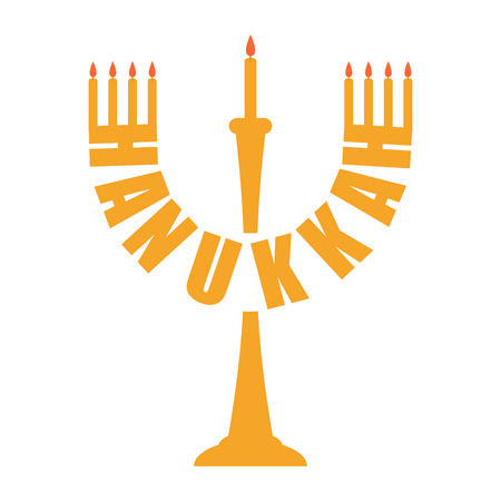Hanukkah icon. Menorah symbol. Jewish religious holiday.