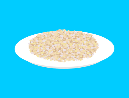 whole grain: Barley cereal in plate isolated. Healthy food for breakfast. Illustration