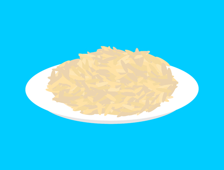 Parboiled rice cereal in plate isolated. Healthy food for breakfast.