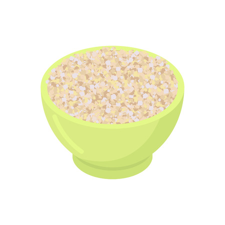 Bowl of barley gruel isolated. Healthy food for breakfast. Vector illustration Illustration