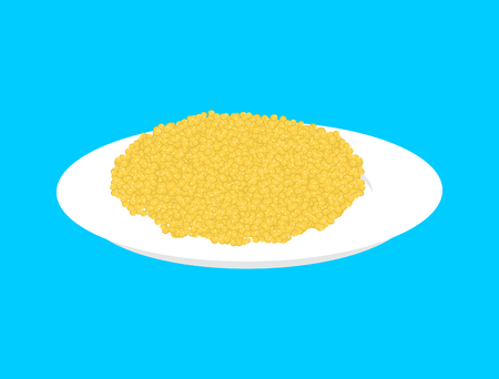 Millet cereal in plate isolated. Healthy food for breakfast. Illustration