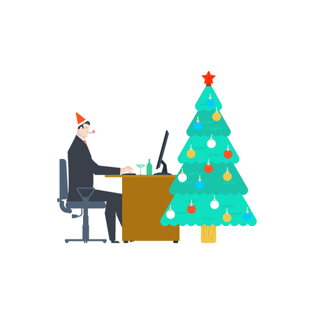 Work for Christmas. Businessman at work and Christmas tree. New Year in office.