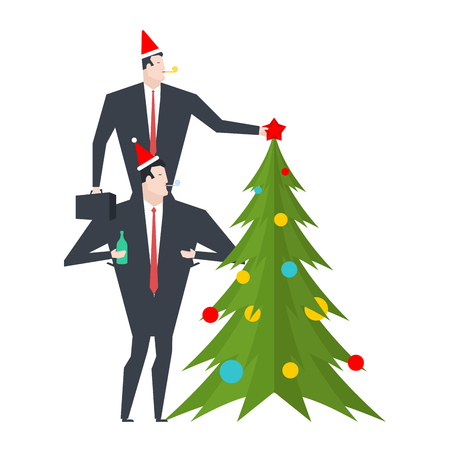 New Year corporate party. Businessman decorates Christmas tree. Christmas at office. Manager in hat of Santa Claus. Vector illustration