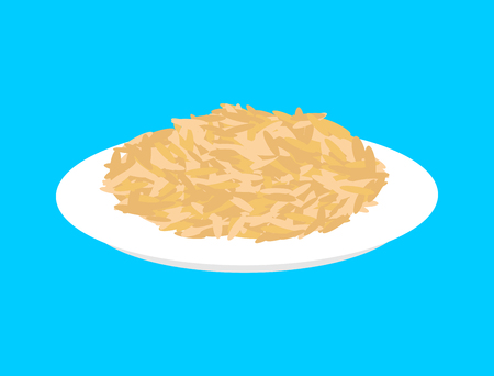 Oat cereal in plate isolated. Healthy food for breakfast. Vector illustration