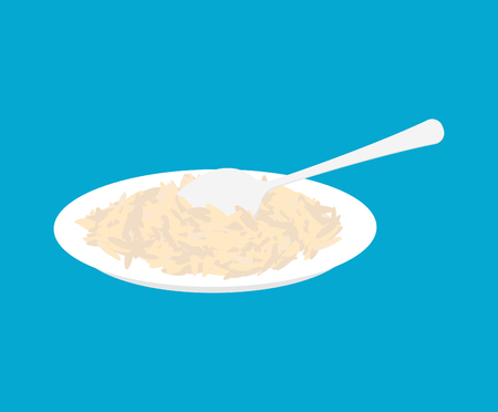 Parboiled rice Porridge in plate and spoon isolated. Healthy food for breakfast. Vector illustration