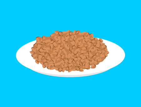Buckwheat cereal in plate isolated. Healthy food for breakfast.