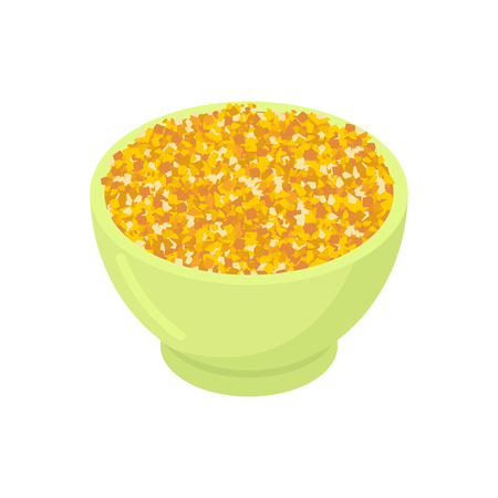 Bowl of corn gruel isolated. Healthy food for breakfast.