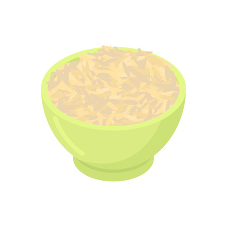 dietary: Bowl of Brown rice cereal isolated. Healthy food for breakfast.