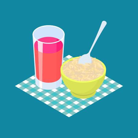 Parboiled rice Porridge and fruit juice. Breakfast Healthy food.