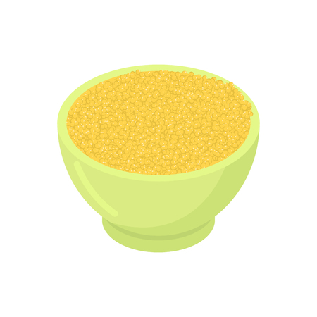 dietary: Bowl of millet cereal isolated. Healthy food for breakfast. Illustration