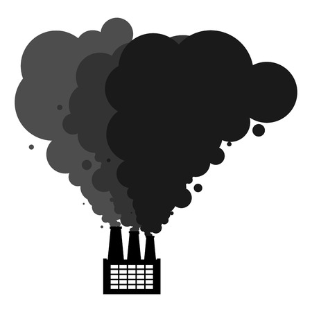 Black smoke pipes of factory. Ecological catastrophy. Industrial landscape. Plant poisonous emissions. Environmental pollution. Vector illustration Illustration