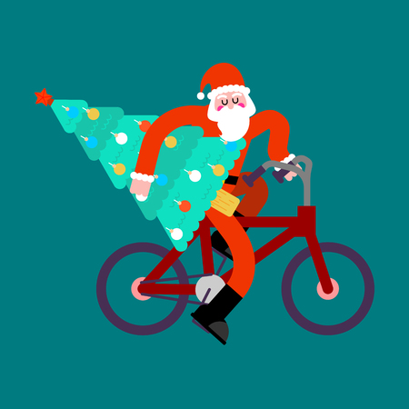 road bike: Santa Claus on bicycle and Christmas Tree. Happy New Year vector illustration