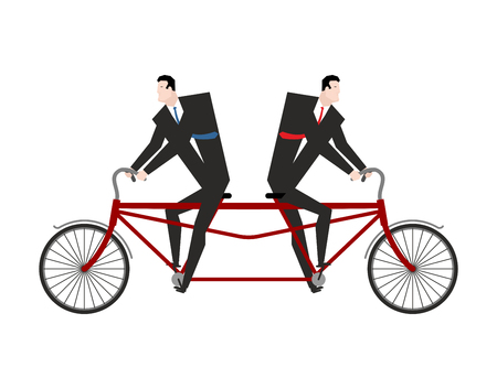 Competition Businessman on bicycle tandem ride in different directions. Vector illustration