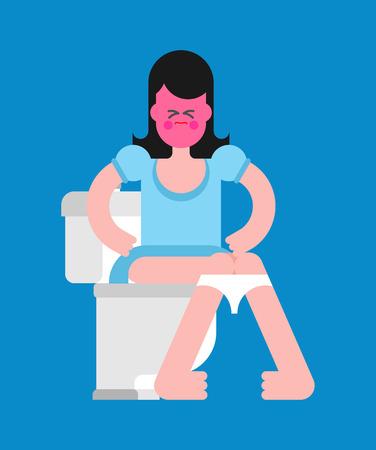 Meisje op toilet. Vrouw zit op het toilet. Vector illustratie