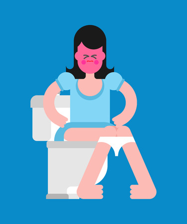 Girl on toilet. Woman is in WC. Vector illustration