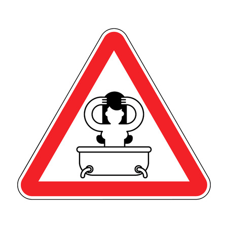 Attention girl in bath. Red prohibitory sign of danger. Vector illustration Illustration