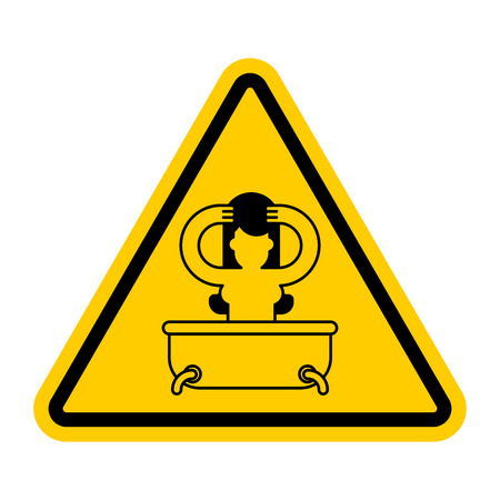 Attention girl in bath. yellow prohibitory sign of danger. Vector illustration