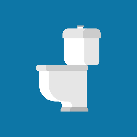 empty the bowel: Toilet bowl isolated on blue background. Accessory WC Vector illustration