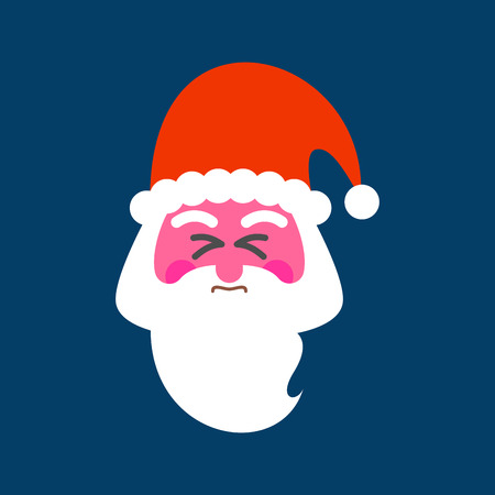 Santa straining face. Red face of Christmas grandfather. Happy New Year. Christmas vector illustration