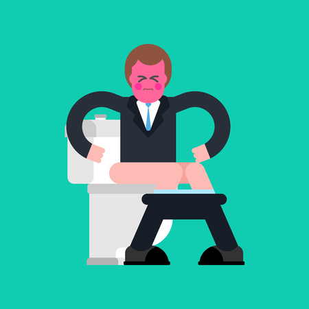 sitter: Businessman on toilet. Guy is in WC. Vector illustration