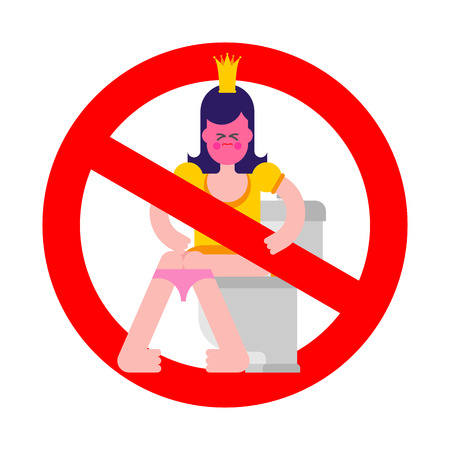 No Princess on toilet. Red Prohibition sign of danger. Woman is in WC. Sweet girl with crown. Stop Ban symbol. Vector illustration