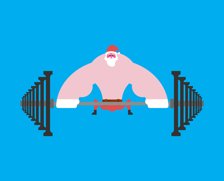 Strong Santa Claus deadlift with barbell. Christmas fitness. Powerful old man. Sport New Year Vector illustration